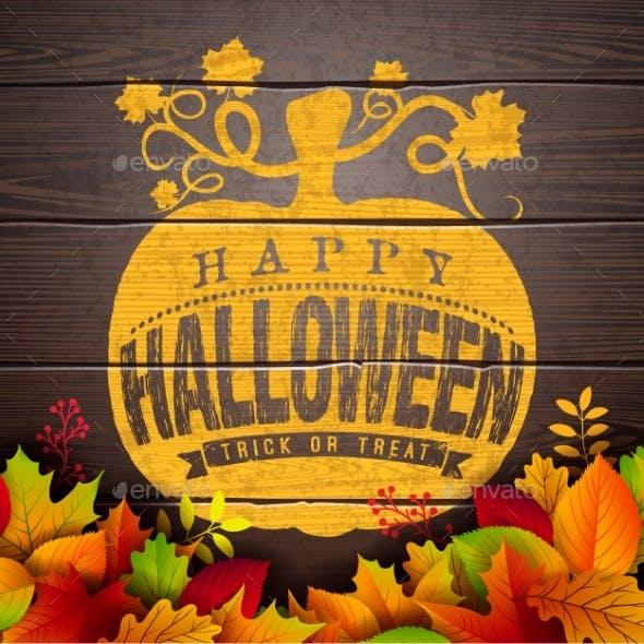 Happy Halloween Banner Illustration with Autumn