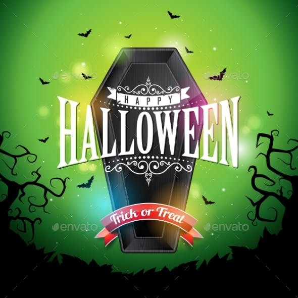 Happy Halloween Banner Illustration with Flying