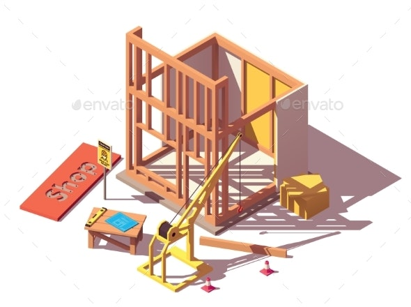 Vector Isometric Shop Construction - Buildings Objects