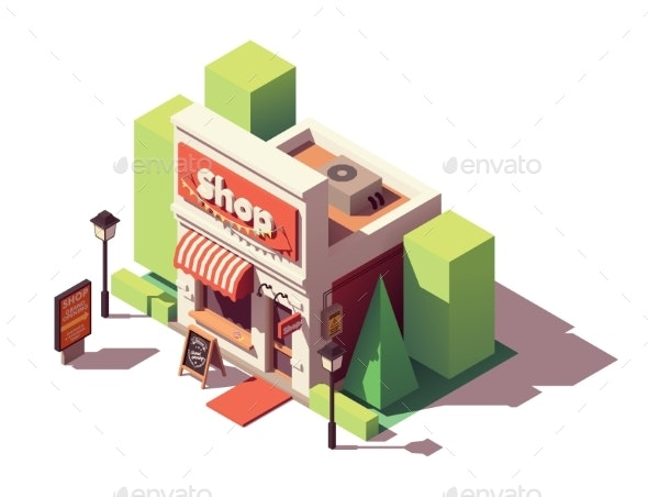 Vector Isometric Shop Opening Icon - Buildings Objects