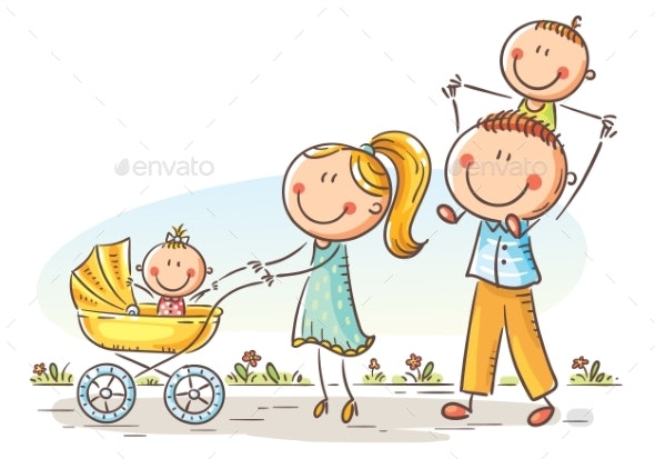 Happy Family with Two Children Walking Outdoors - People Characters