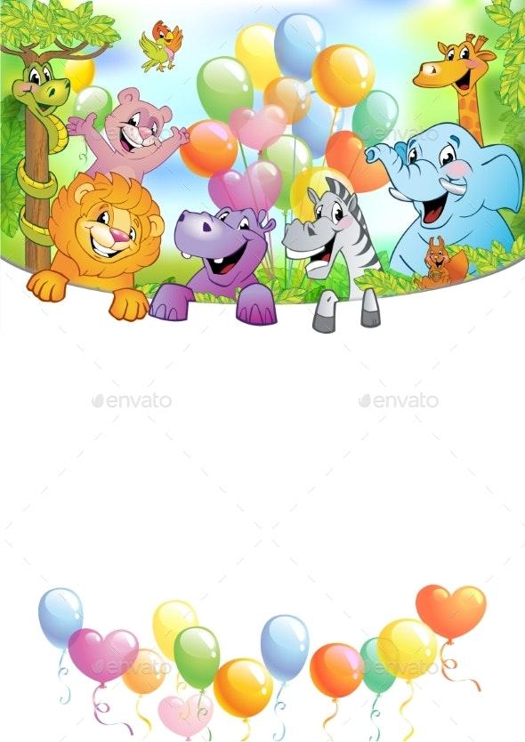 Cartoon Cheerful Animals Holiday Background - Animals Characters