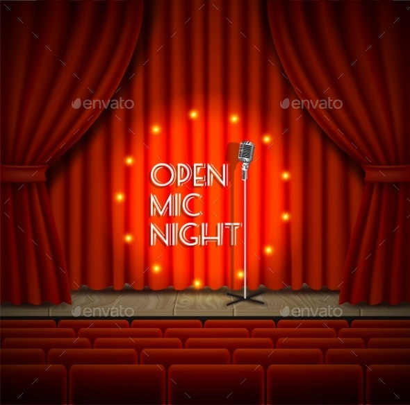 Open Mic Night Live Show Vector Background - Backgrounds Decorative