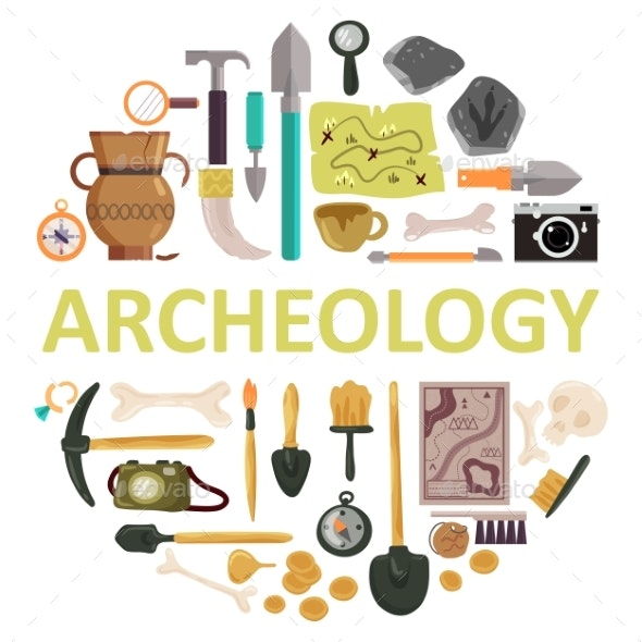 Archaeology Icon Set Vector Isolated Illustration - Miscellaneous Vectors