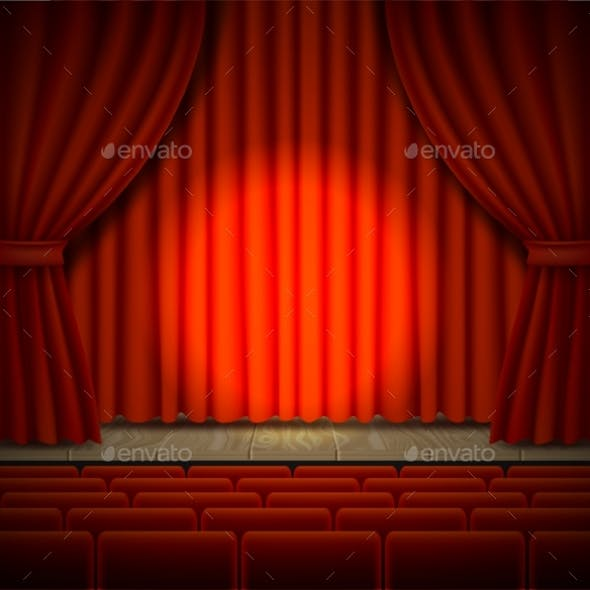 Concert Stage Vector Realistic Illustration