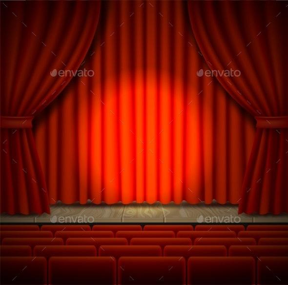 Concert Stage Vector Realistic Illustration - Backgrounds Decorative