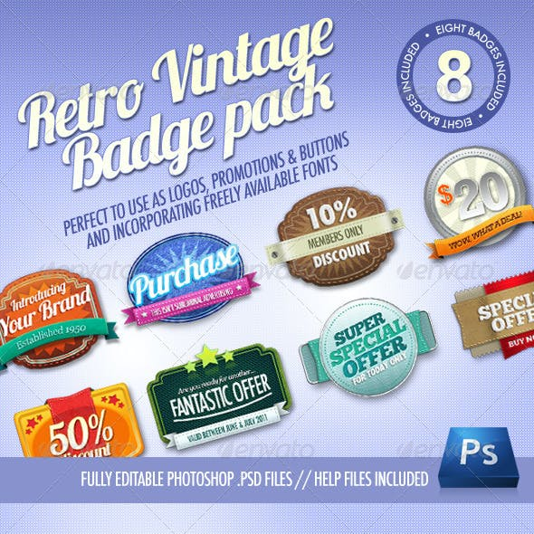8 Retro Vintage badges
