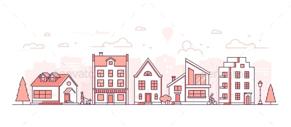 City Life - Modern Thin Line Design Style Vector - Buildings Objects