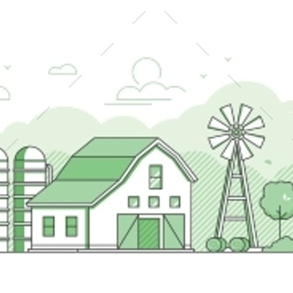 Country Landscape - Thin Line Design Style Vector