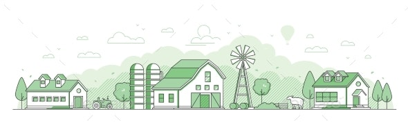 Country Landscape - Thin Line Design Style Vector - Buildings Objects
