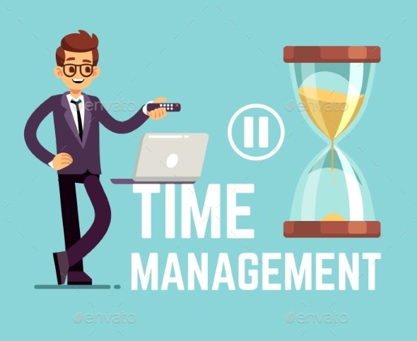 Time Management Business Concept with Cartoon - People Characters