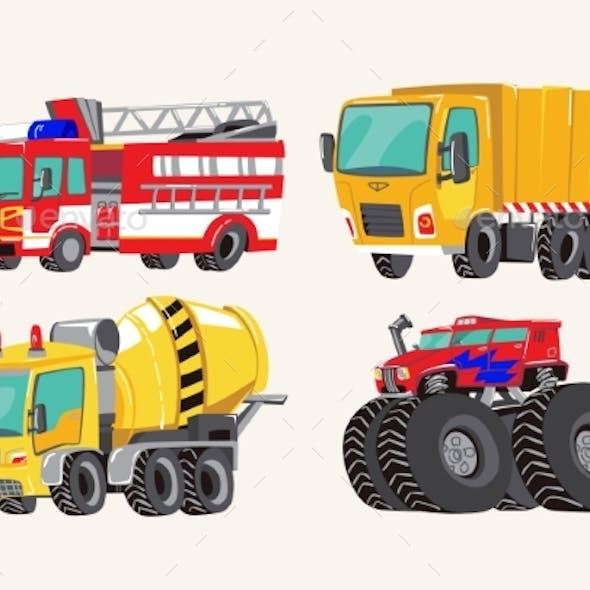 Hand Drawn Cartoon Vehicles