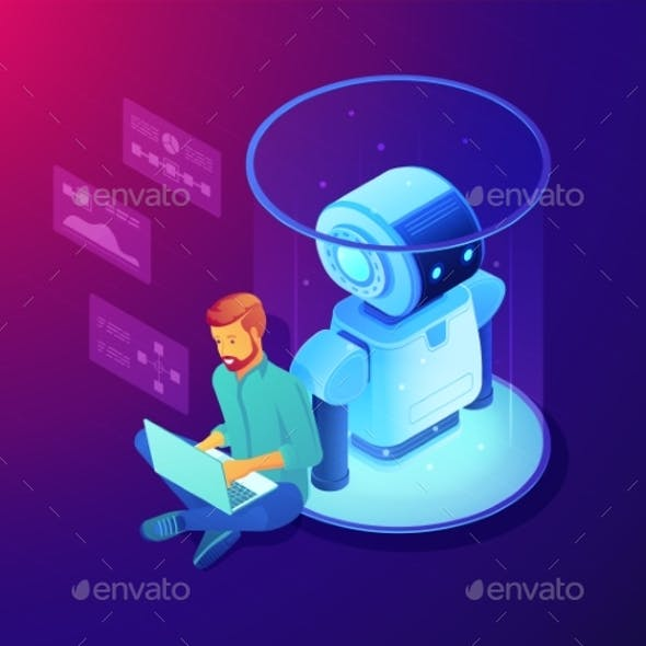 Robot Software Concept Vector Isometric
