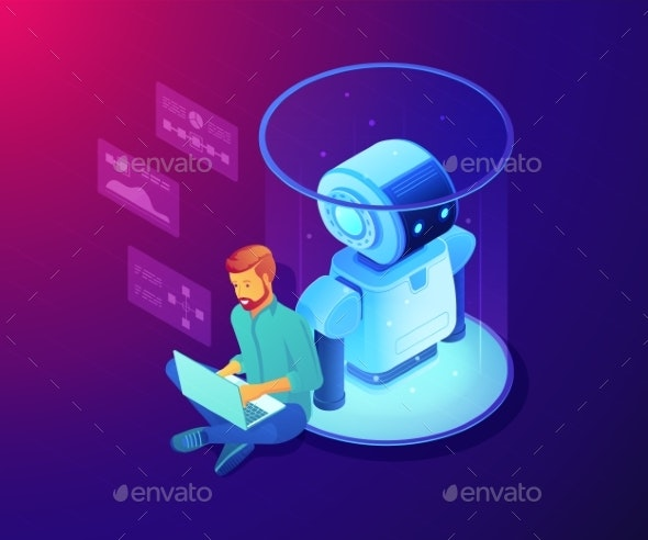 Robot Software Concept Vector Isometric - Computers Technology