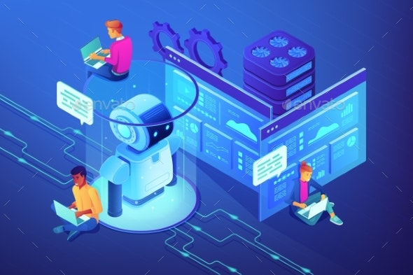 Robotics Developer Concept Vector Isometric - Computers Technology
