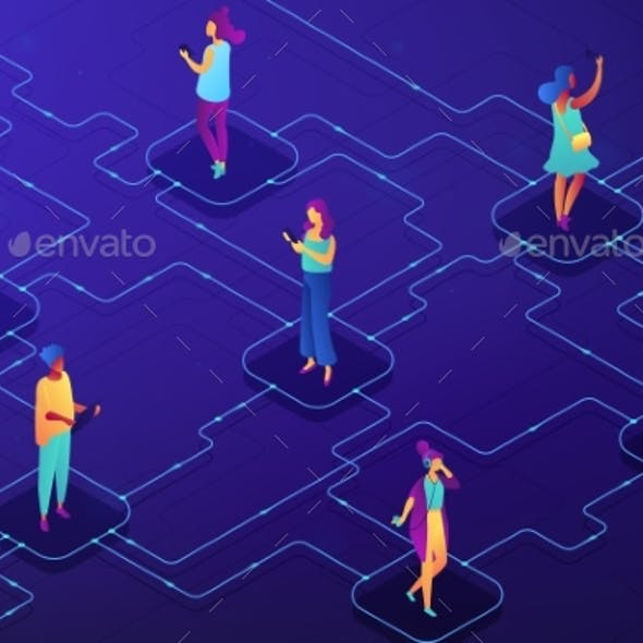 Social Network Concept Vector Isometric