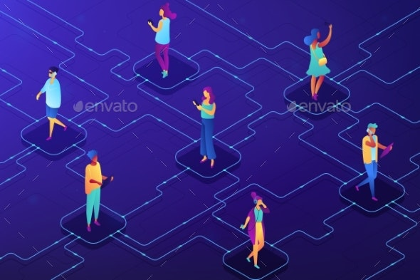 Social Network Concept Vector Isometric - Communications Technology