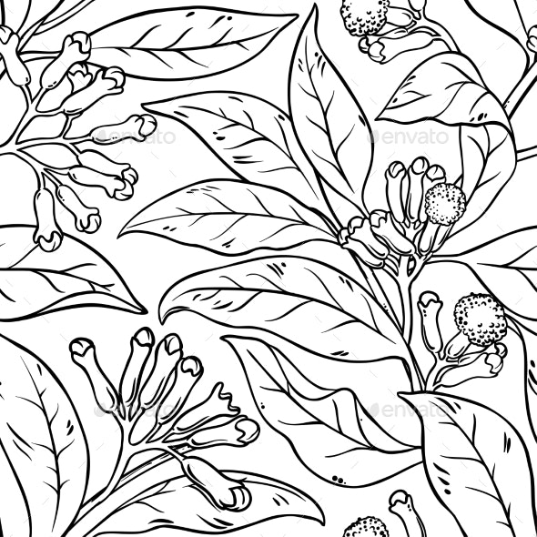 Clove Seamless Pattern - Flowers & Plants Nature