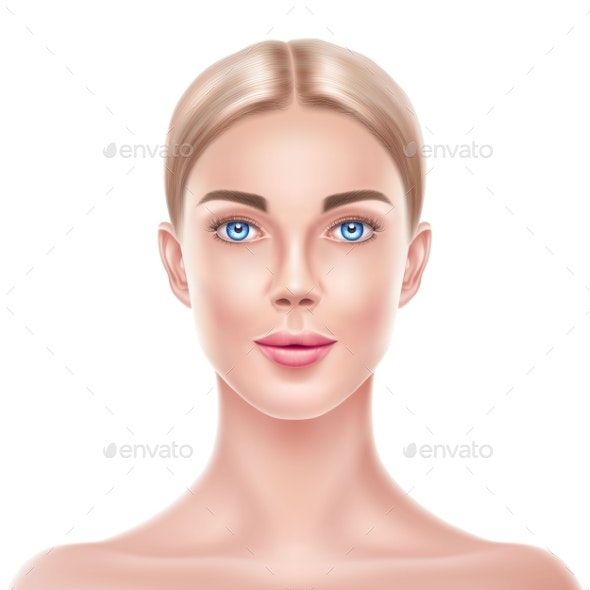 Vector Realistic Blonde Woman Model Beauty Face - People Characters