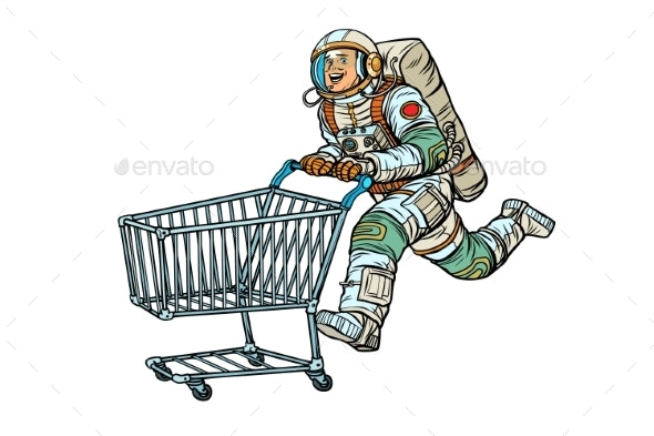 Astronaut in the Store with a Shopping Cart - Miscellaneous Conceptual