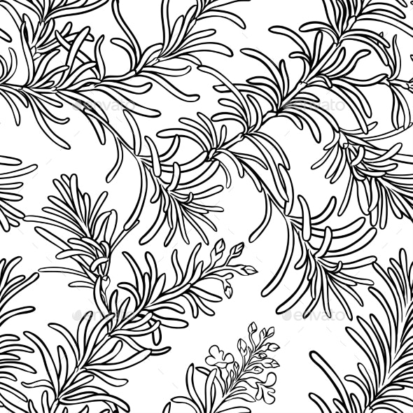 Rosemary Seamless Pattern - Food Objects