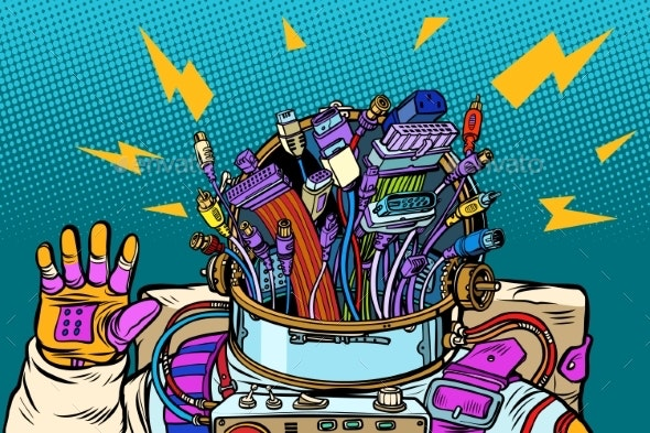 Chaos of Adapter Cables Cyber Astronaut - Miscellaneous Vectors