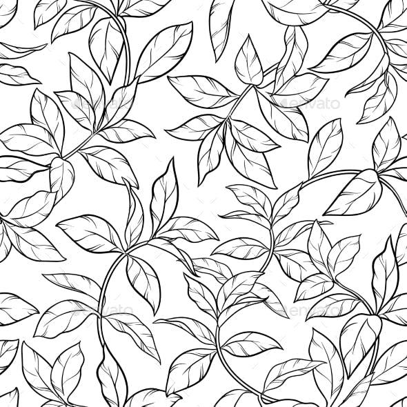 Tea Leaves Seamless Pattern