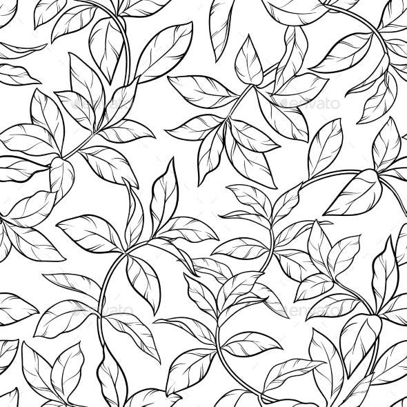 Tea Leaves Seamless Pattern - Flowers & Plants Nature