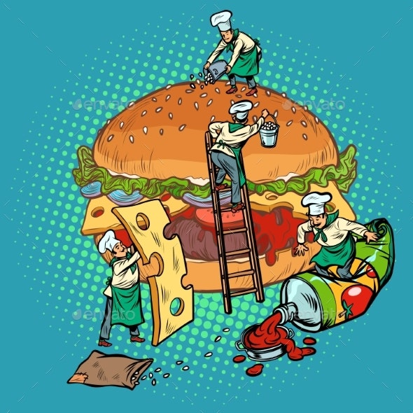 Cooking Burger Mini Chefs Gather Ingredients - Food Objects