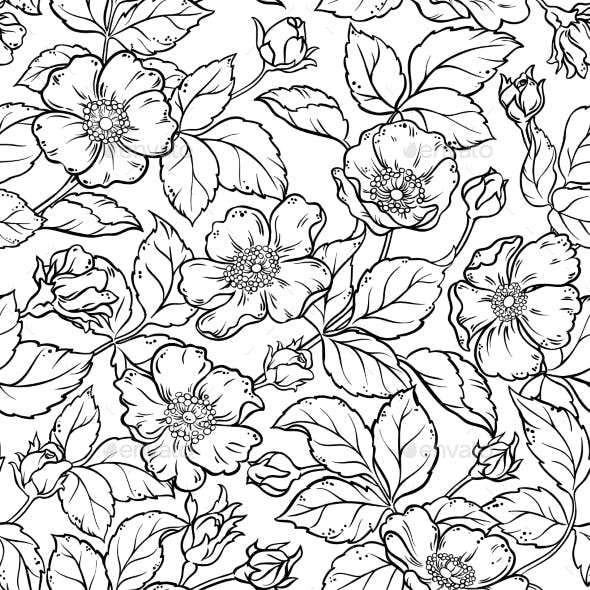 Wild Rose Flowers Seamless Pattern