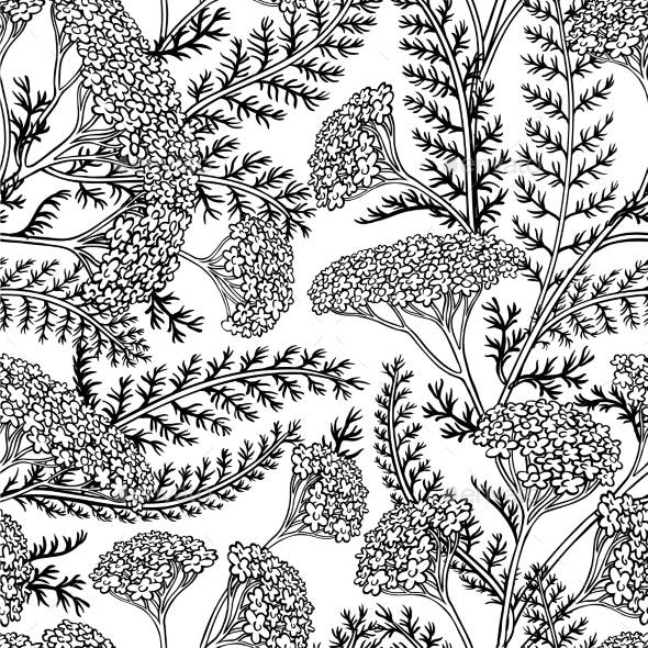 Yarrow Seamless Pattern - Flowers & Plants Nature