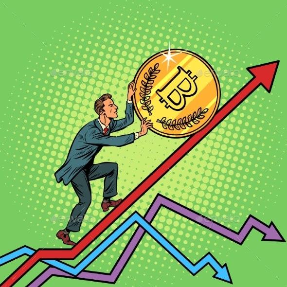 Businessman Rolls a Bitcoin Up - Concepts Business