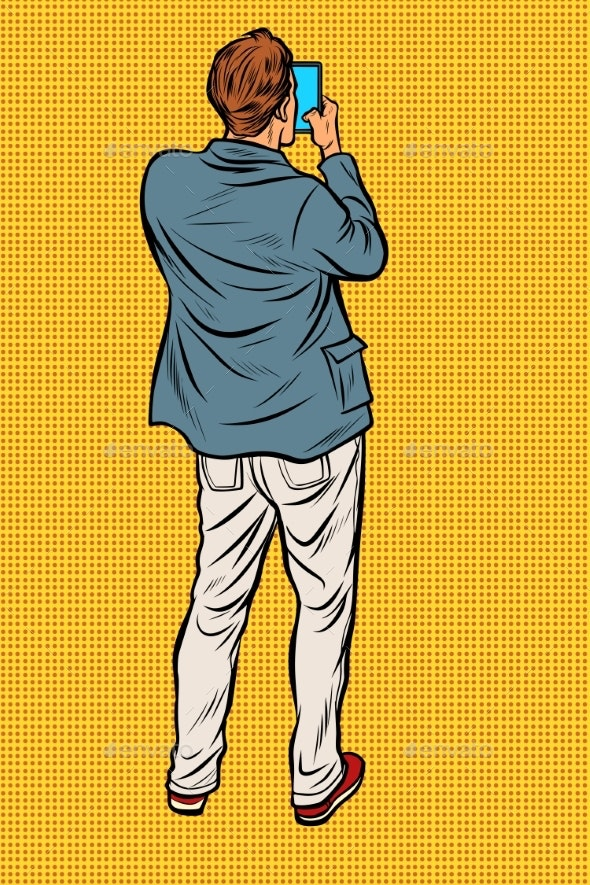 Man with Smartphone Back - People Characters