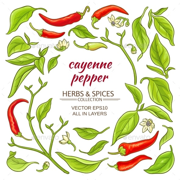 Cayenne Pepper Elements Set - Food Objects