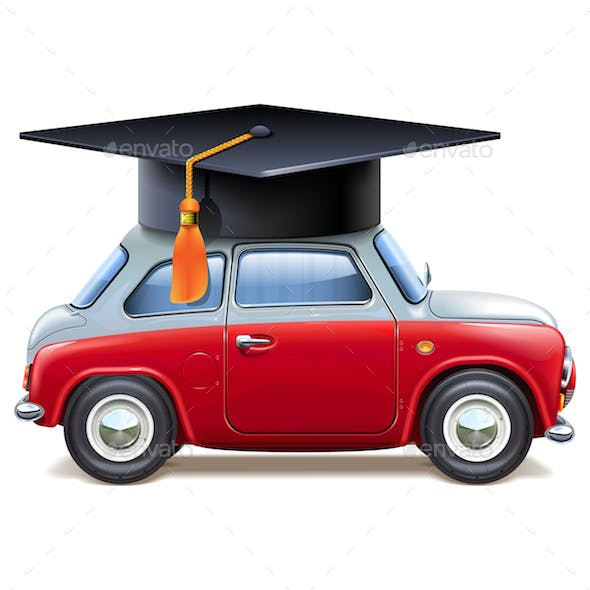 Vector Red Car with Square Academic Cap