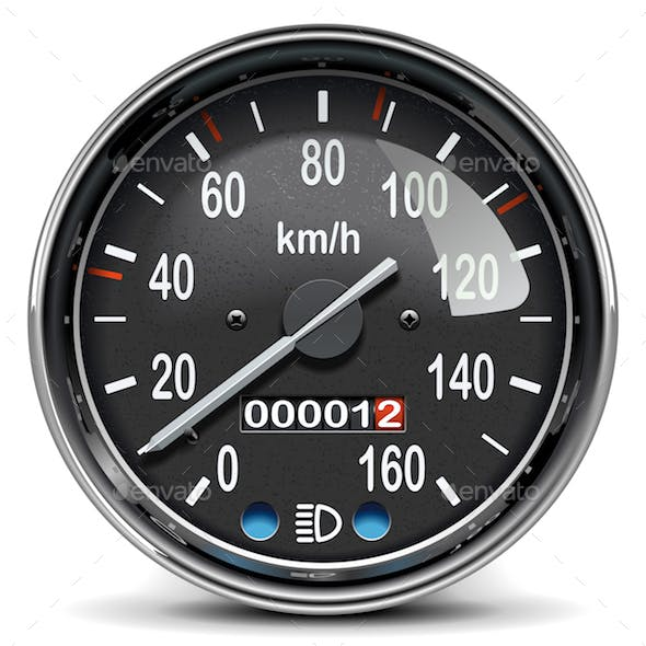 Vector Black Mechanical Speedometer Icon