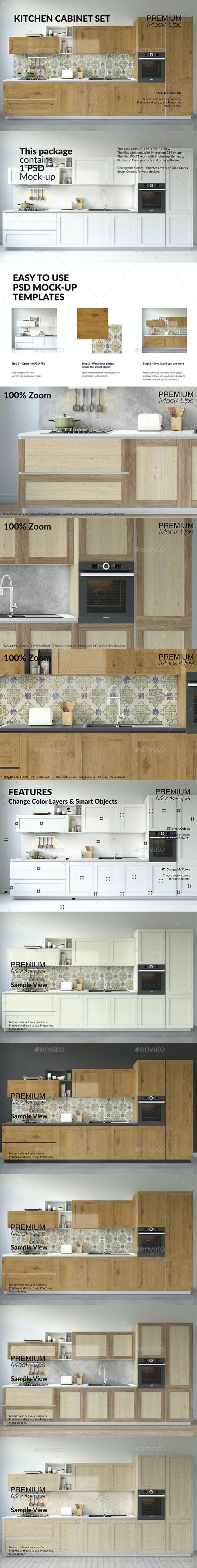 Kitchen Cabinet Set - Product Mock-Ups Graphics