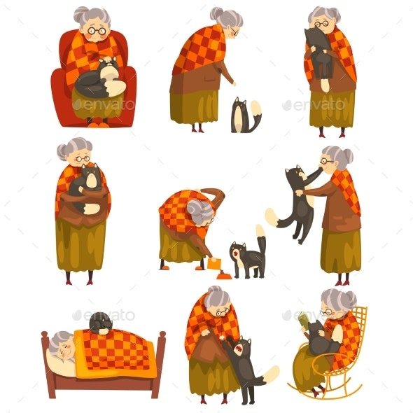 Granny and Her Black Cat Set - Animals Characters