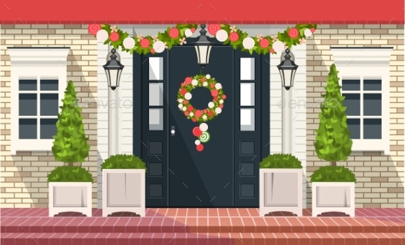 Christmas Decoration of Entrance Doors - Buildings Objects
