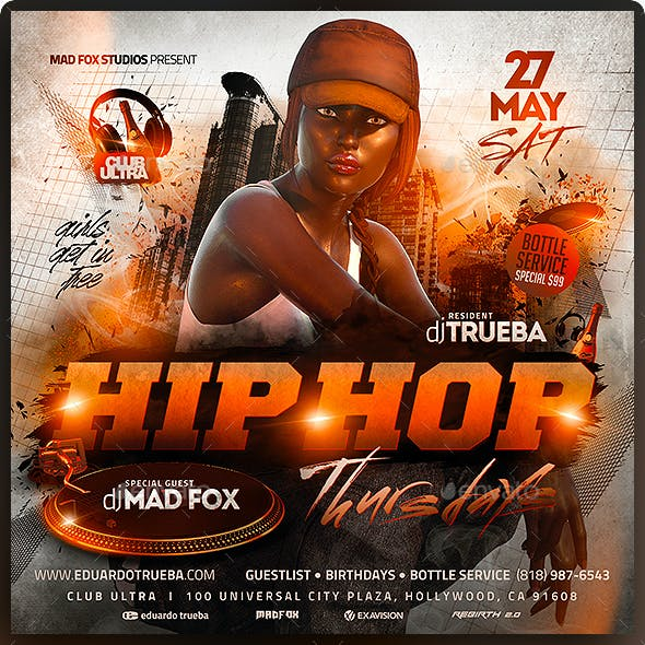 Hip Hop Thursdays Party Flyer