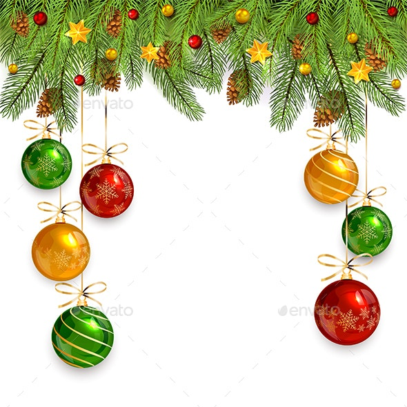 Christmas Ornament Background.Christmas Decorations On White Background