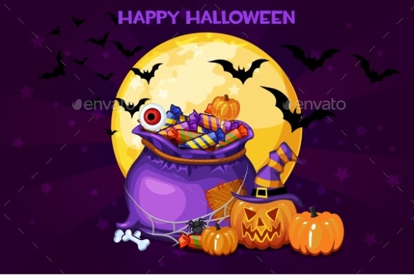 Cartoon Bag with Candy - Halloween Seasons/Holidays