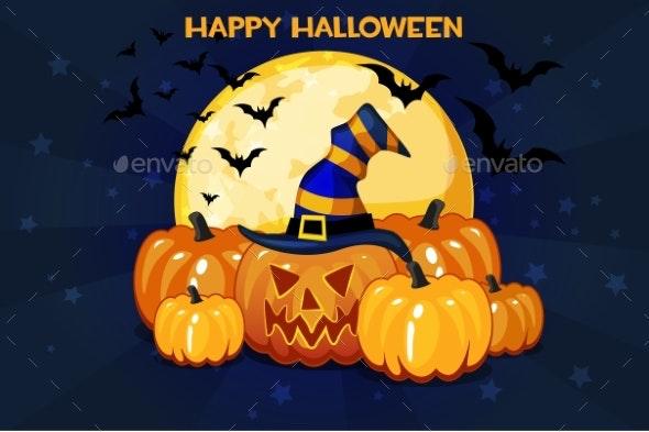 Cartoon Halloween Pumpkins and Moon - Halloween Seasons/Holidays