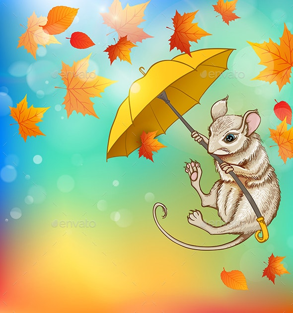 Mouse Flying on an Umbrella - Animals Characters