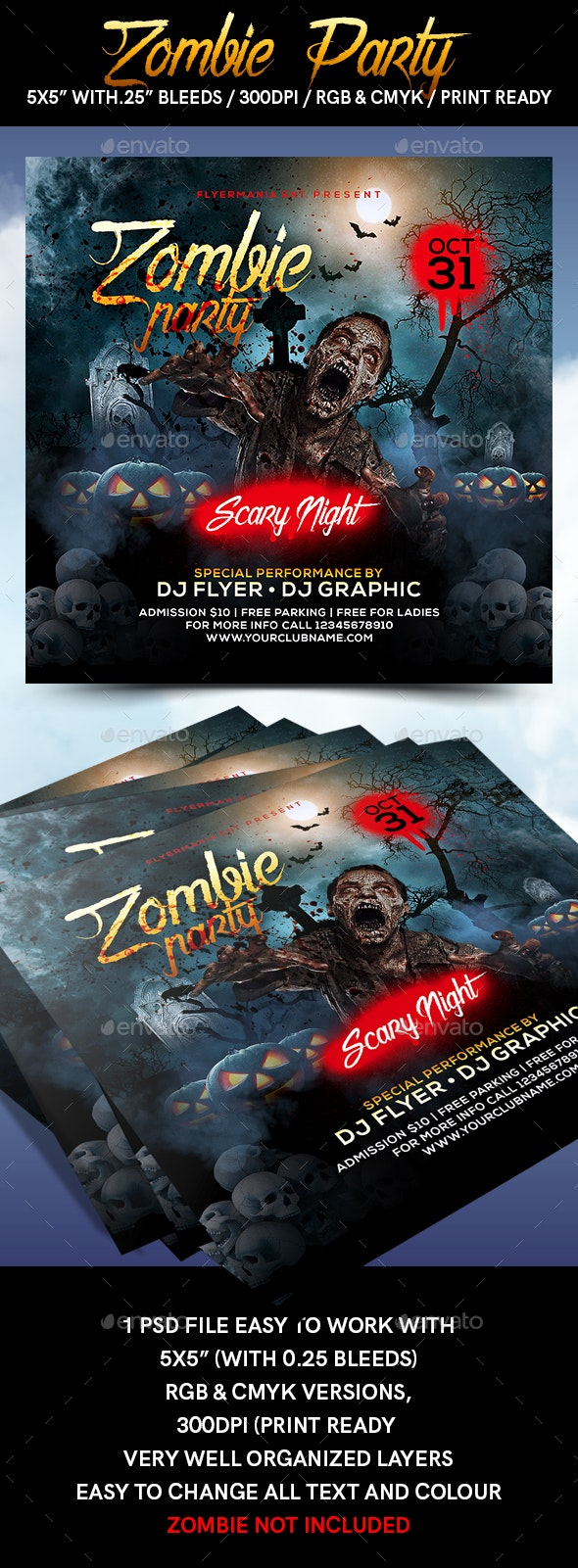 Zombie Party Flyer Template - Flyers Print Templates