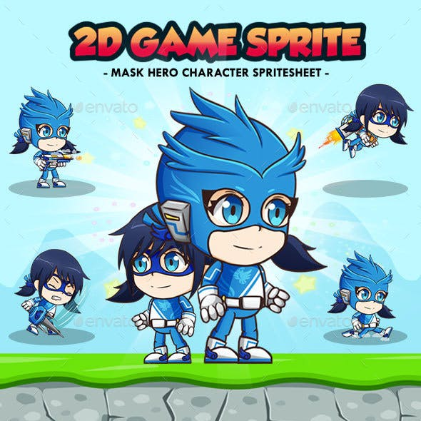 Hero Mask Blue - 2D Game Character Sprites