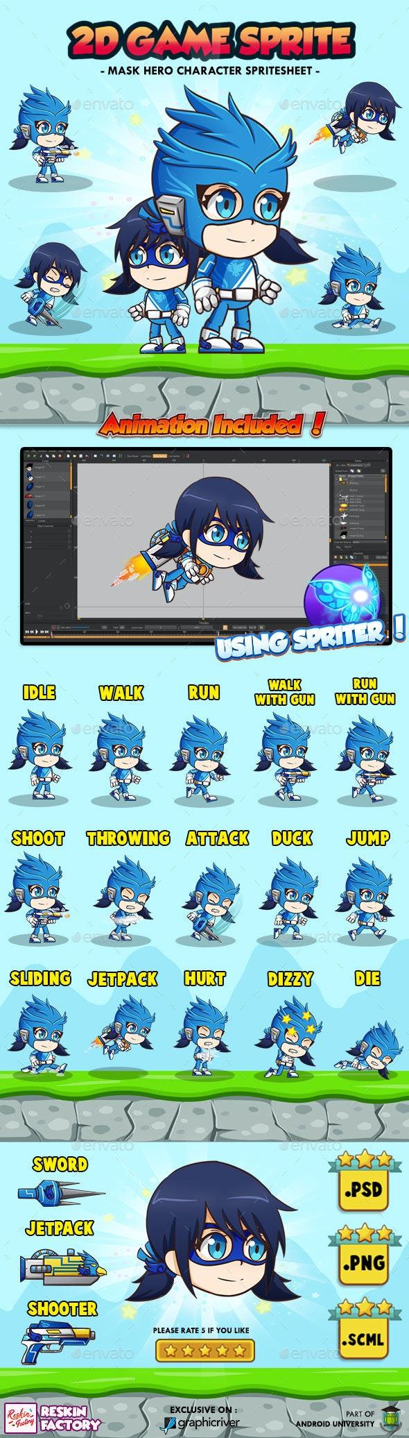 Hero Mask Blue - 2D Game Character Sprites - Sprites Game Assets