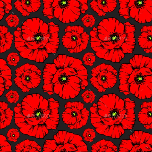 Seamless red poppy flower background by oly jolly - Bat and poppy wallpaper ...