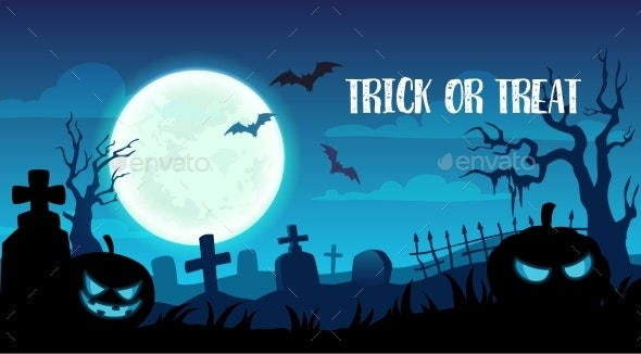 Halloween Holiday Trick or Treat Cemetery Design - Halloween Seasons/Holidays