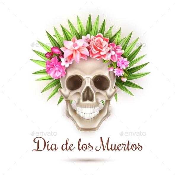 Vector Dia De Los Muertos Day of Dead Skull Flower - Miscellaneous Vectors